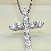 0.55CT Luxury Quality 925 Sterling Silver Elegant NSCD Synthetic Diamond Jewelry Cross Pendant Necklace Free Shipping