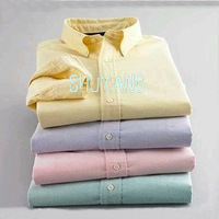 2013 High Quality New Mens Casual Oxford Long Sleeve Slim Fit Shirt ,(embroidery brand logo),White Pink Blue 9 Colors Size S-XXL