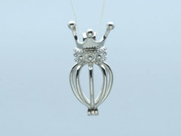 Crown Locket Cage Pendant. Sterling Silver Crown Design Wish Pearl Cage Pendant , DIY locket pendant for necklace makeing