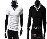 2013 good quality 100% cotton NY turn-down collar male short-sleeve slim polo shirt male short-sleeve polo shirts Free shipping