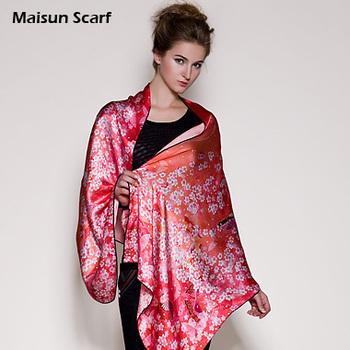 Maisun Latest fashion autumn summer 2013 new pashmina shawl red floral print scarves 175x65cm real silk long scarf hijabs