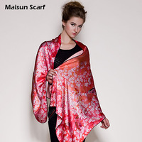 Maisun Latest fashion autumn summer 2013 new pashmina shawl red floral print scarves 175x65cm real silk long scarf hijabs