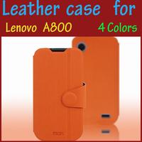Screen protector + Mofi case a800 leather case for Lenovo a800, original cover colorful high quality  Lenovo a800 leather case
