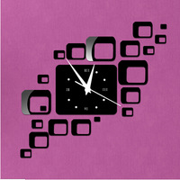 Min order 15 usd ( Mix items )combination of square 3D wall stickers DIY mirror wall clock is a good gift