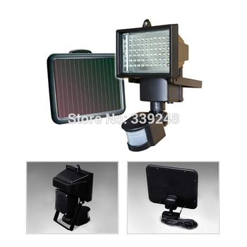 Free shipping Outdoor Solar Powered  60 LED Floodlight Spotlight Light Infrared Ray Motion Sensor Security Garden PIR Wall Lamp