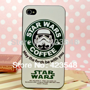 1pcs/lot,Free shipping,good hand feel star wars coffee case cover for iPhone 4 4s 4G with retail package(China (Mainland))