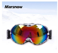 2014 New style Free shipping adult double-layer anti-fog windproof mirror sunglass goggles spherical lens ski goggles