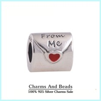 925 Sterling Silver TO My Love Thread Charm Beads with Red Enamel Heart Fits Pandora Style Charm Bracelets & Bangles