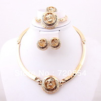 Free shipping NEW Dubai African18K Gold Plated Fashion Wedding Bridal accessories Jewelry set
