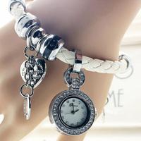 Ladies Fashion Korea Style Genuine Leather Bracelet Heart Multi Pendant Bracelet Watch Women Dress Watch