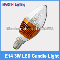 3w candle led lighting small screw-mount e14 bubble tip crystal gold led lamp