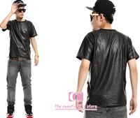 Hot-selling summer fashion tees for men / Full snakeskin artificial leather t shirt short-sleeve zipper black  white t shirt