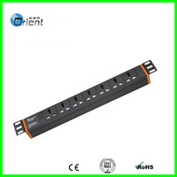 "1U 19"" Universal Type  PDU 7way black color  with power indicator light"
