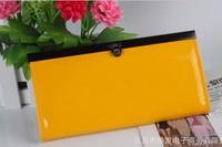 19*9.5*1.7 CM women's PU patent leather envelope clutch bag long leather Wallet Ladies designer Purse 10 colors