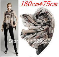2014 autumn-summer New  big size ink printing ink hand-painted begonia flower scarf the shawl chiffon scarves for women scarfs