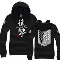 Free Shipping Attack On Titan Hooded Sweatshirt Sweater Shingeki no Kyojin Cosplay The Scouting Legion Survey Corps 6 Colors