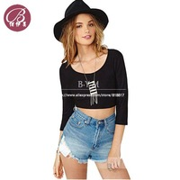 Free shipping women T-shirt with back cross backless tops three quarter sleeve round collar short sheath fashion sexy D174