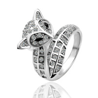 18K White Gold plated Shining Full Crystal Finger Ring For Woman Luxurious Paragraph Fashion,Wholesale R051