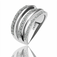 2014 Promotions price!18K White gold plated Shining Full Crystal Finger Ring For Woman Luxurious Paragraph Fashion R068