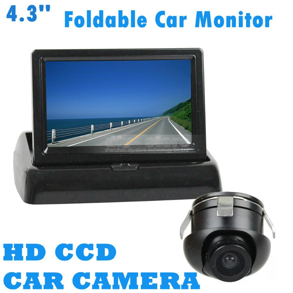 Diy 4.3 inch Foldable TFT LCD Display Car Monitor + HD Ccd Back Up Rear View Car Camera Reversing Back Up Cam Kit(China (Mainland))