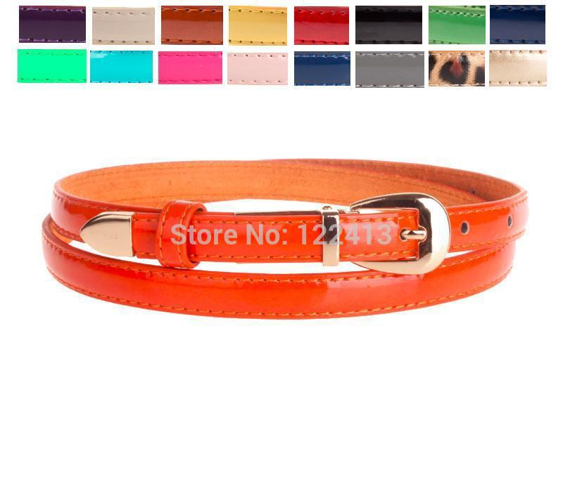 Whoelsale Office Lady Casual Patent Leather Cowskin Womens Orange/Black/White Candy Colors Waist Belt Free Shipping(China (Mainland))