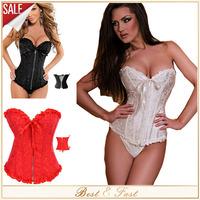 The woman cheap black satin lace up corset lingerie set slimming body shaper overbust zipper corsets plus size S-6XL