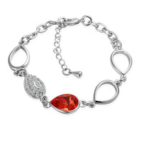 2014 High quality!18K Gold Plated Red Rhinestone Heart Bracelets & Bangles Wholesale Fashion Jewelry for women B032