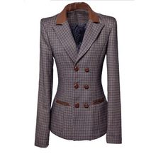 2013 spring women Korean style outwear Couture retro coat the leather design patchwork plaid jacket small suit coat(China (Mainland))