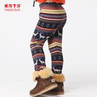 3T girl legging #12075 david's Deer Girls winter all-match girls clothing plus velvet thickening thermal legging trousers