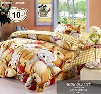 100% cotton kids bedding set  Bear cartoon bed set for baby child   boy   girl ,cute cartoon bedclothes duvet cover set(#35-10