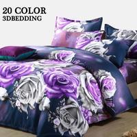 3D bedding set queen size purple rose flowers printed 4pcs bed set wedding bedding sets( bed sheet duvet cover pillowcases)#28