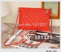 2013 new rivet package stitching flannel bag shoulder bag brand fashion handbag Free Shipping Rivet Studded Messenger Bag MX81