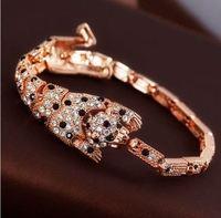 Fashion Luxury Leopard Full Rhinestone Women  Bracelets Bangles Pulseiras Gold Designer Party Dress Wholesale free shipping