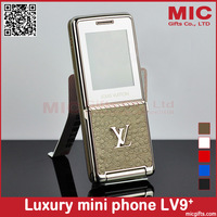 2013 Luxury mini Cell Phone for women V9+ with Metal Back Cover 1.3MP Camera Bluetooth MP3 MP4 FM Radio cellphone +Free Shipping