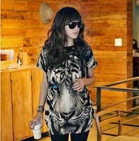 new 2014  Hot Sale Sexy New Women Casual Wild Leopard Shirt Top Free Shipping