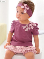 children christmas purple baby girls clothing sets kids flower headband t-shirts shorts pants skirt clothes set wear