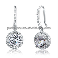 Wholesale 1.5 Carat Round Cut Simulated Diamond Solid 925 Sterling Silver Bridal Wedding Dangle Earrings Jewelry CFE8026