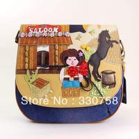 EMS Delivery Retail Cute Mongolia Doll Theme Women Handbgs Bolsas Designers Brand Vintage Shoulder Messenger Bags TB New 2013