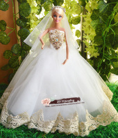 Free Shipping,White Wedding Dress Party Clothes Outfit Gown for Barbie Doll Kurhn Doll