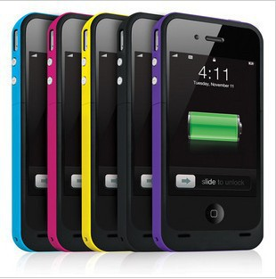 10pcs Free shipping 1900mAh External Rechargeable Backup Battery Charger Case for iphone 4s 4g