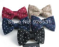 Yibo 2014 New style Black dots/wine red dots/navy dots bowknot many knitting dress tie bow tie  Free Shipping