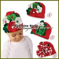 Sunshine store #2B1507 10 pcs/lot(3 styles)baby girls hat wool felt flower red cotton hat children beanie/Christmas cap CPAM
