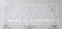 "Handmade white flower pattern elegant lace 100% cotton practical oblong table mat Size 16*36"" AT4002"