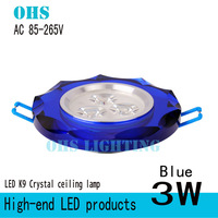 New Arrivals  K9 Crystal +Aluminum LED Spotlight 3W LED White/Warm white +85V-265V Super Affordable