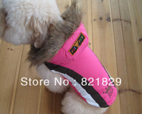 Free Shipping Top Fashionable Pink Dog Ski Suit  Dog clothes Cotton&Polyester Pet Windcoat Western Style Dog Windcoat