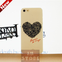 Brand New Fashion Black Heart Drawing Relief Back Covers For iPhone 5 5s Case,Case For iPhone 5,Free Shipping