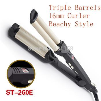 Digital Hair Waver Wave Curler Ceramic Hair Curling Iron Triple Barrels 16mm Curler Styling Tools