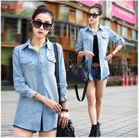 2014  Women's Casual Cotton Blouses Plus Size Clothing Denim Shirts Long-Sleeve Medium-Long Jeans Shirt Women's Tops