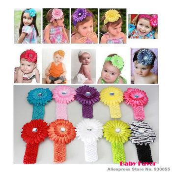 Free Shipping 10pcs Fashion Kids Baby Girls Infants Newborn Headband Hair wear Daisy Flower Clip Accessories Party Crochet Knit