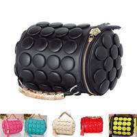 women pu leather handbags Women Bag 2014 Handbag Messenger Bag Button Round Tassel Bag Skull wedding bag